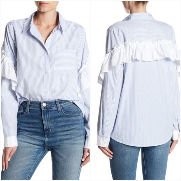 e1eea83d Abound Tops | Poplin Ruffle Sleeve Shirt | Poshmark